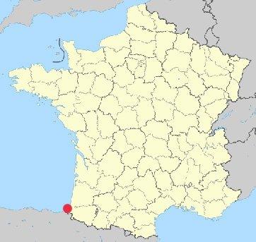 Mapa da França - Localização de Biarritz
